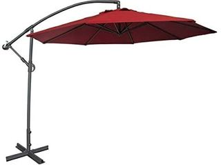 Abba Patio 10ft Offset Hanging Patio Umbrella with Cross Base  Red