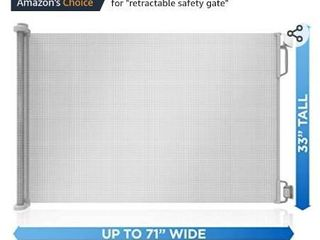Retractable Baby Gate 33  Tall  Extends to 71  Wide