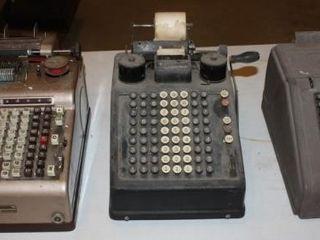 3 Vintage Manual Adding Machines