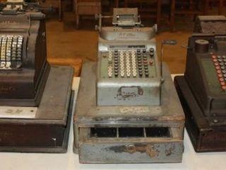 3 Vintage Manual Cash Registers