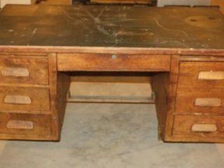 large Oak Dovetail Desk   Wooden Chair