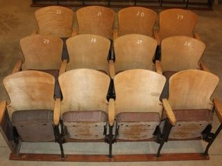 3 Rows of 4 Wooden Movie Theater Chair Seats