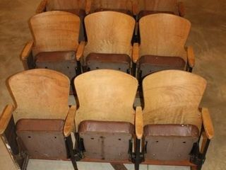 3 Rows of 3 Wooden Movie Theater Chair Seats