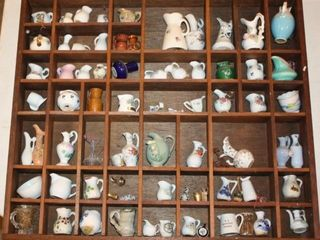 Shadow Box of Miniature Pitchers   Vases