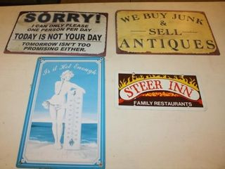 4 Collectible Metal Signs