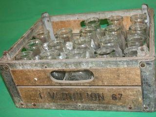 Vermilion 67 Crate w 18 Half Pint Milk Bottles