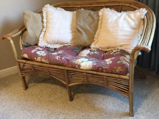 Bamboo loveseat With Cushion and Pillows