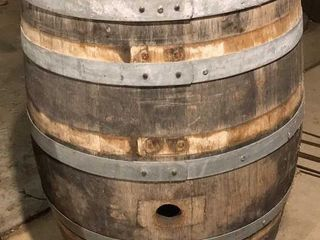 large Wood Metal Bound Wine Barrel