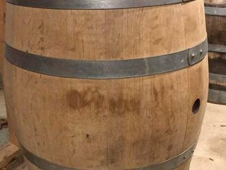 large Metal Bound Oak Wine Barrel