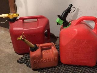 3  Gasoline Cans   2  5 Gallon   1 Gallon