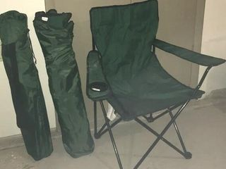 3  Green Folding lawn Chairs w  Bags