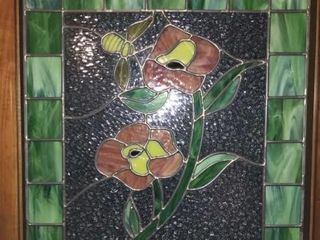Bee   Flower leaded Glass Piece  20 5 x 24