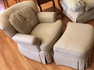 Tan Gold Pearson Soft Chair   Ottoman