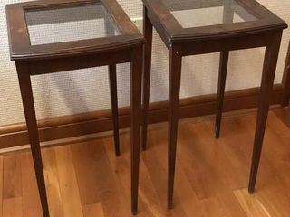 2  Glass Top Wood Accent Tables