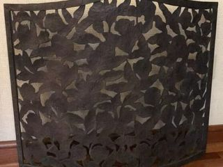 Metal Floral Pattern Fireplace Screen