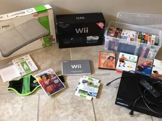 Wii   Wii Fit Plus w  DVDs  VHS   Sony Player