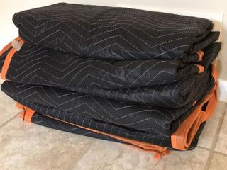 6  Black   Orange Moving Blankets  like New
