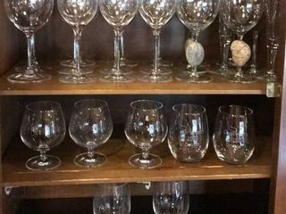 large Selection of Clear Wine Glasses