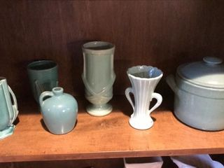 Turquoise Green Pottery   Vases