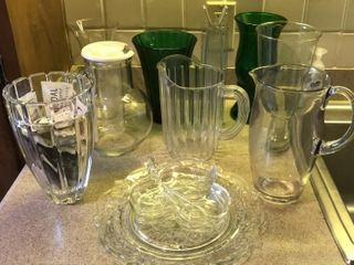 Selection of Pitchers   Vases  Glass   Plastic