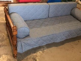 Wood Frame Blue Couch Daybed