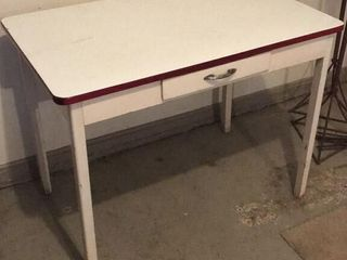 White Enamel Top Table w  Drawer   Towel Bar
