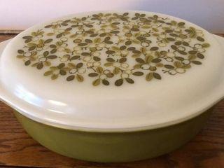 Vintage Green Olive Pyrex Casserole Dish