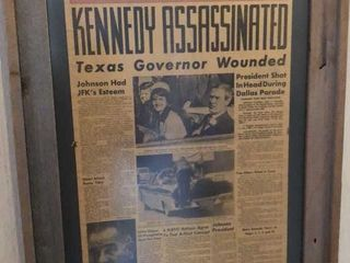 Framed JFK Denver Post Newspaper