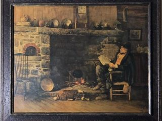 Man Reading By Fire Print