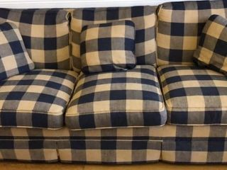 Fairington Blue and Tan Plaid Sofa
