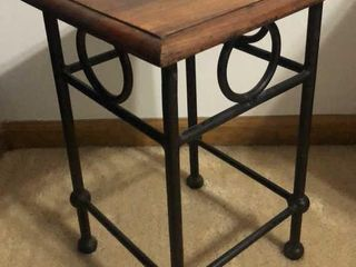 Wood Top Metal Plant Stand