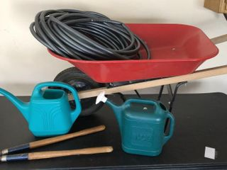 Wheel Barrow  Hose  Water Cans  loppers