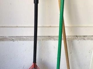 Rake and 2 Brooms