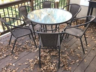 Glass Top Patio Table with 6 Chairs