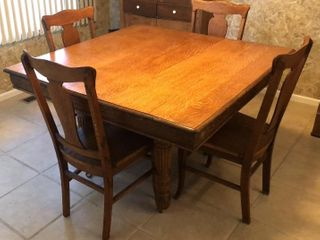 Antique Oak Dining Table with 4 Chairs