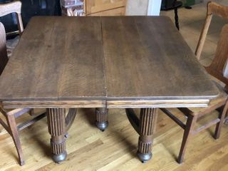 Antique Oak Dining Table with 2 Chairs