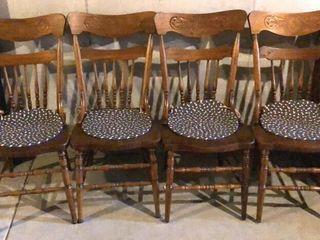 4  Antique Pressed Back Chairs