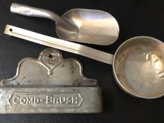 Tin Scoop  ladle  and Brush Tray