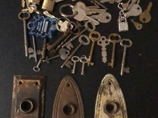 large Assortment of Keys and Antique lock Plates