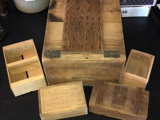 5  Primitive Wooden Boxes