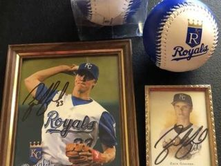 2  Zach Greinke Autographed Photos and Royals