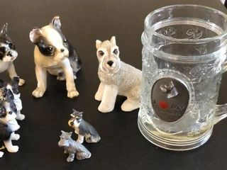 Boston Terrier and Schnauzer Figurines