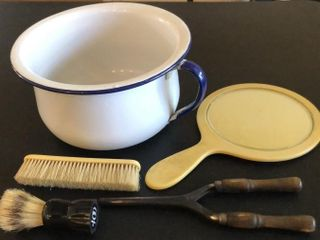 Enamel Pot with Hair Curler and Brushes