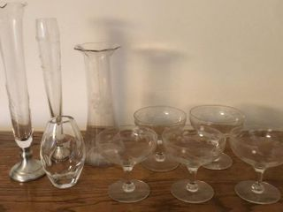 Etched Glasses and Vases