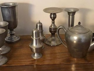 Pewter Goblets  Shakers  Kettle  Candlestick
