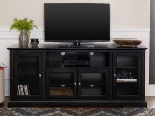 Manor Park Contemporary Tall TV Stand for TVs up to 78in   Black