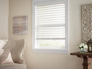 levolor 2 in White Faux Wood Blinds   Precut To 37 X 64   No Hardware Included