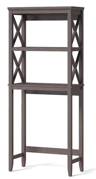 Allen   Roth 3 Tier Over the Toilet Shelf Tower Gray Finish