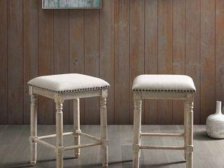 Arnhem Wood Upholstered Counter Height Stool  Set of 2