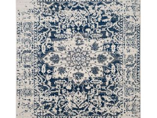 Cream Navy Botanical loomed Area Rug    9 X12    Safavieh  Beige